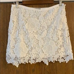 White Lace Mini-Skirt